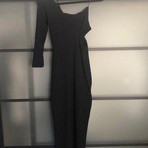 Zara One Sleeved Cut Out Midi Bodycon Dress